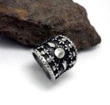 Flor de la vendimia del anillo de los hombres Titanium de la pieza de acero fundido de par en par