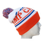 冬の帽子のアクリルのジャカード帽子の帽子のカスタムニットの帽子POMのPOMによって編まれる帽子の帽子