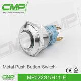 interruttore di pulsante momentaneo dell'acciaio inossidabile di 22mm