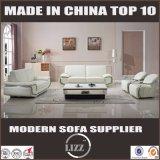 Luxuxstahlarm-weißes Farben-Leder-Sofa-Set