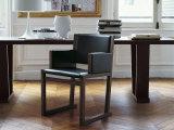 Cadeira de jantar de couro de madeira de design moderno