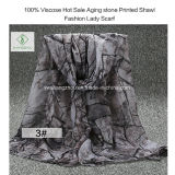 Senhora quente Forma Viscoso Lenço do Sell com o xaile impresso pedra do envelhecimento