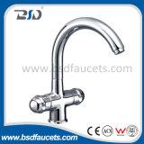 Chrome chaud/robinet de bassin de cuisine de taraud d'eau de mélangeur trou du froid deux