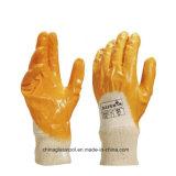 Ладонь природного каучука отделки морщинки тумака шпицрутена покрыла перчатку работы латекса перчаток конструкции