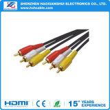 3RCA Mannetje van uitstekende kwaliteit van de Kabels van de Hefboom het Audio aan Mannetje