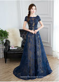 Spitze-formales Kleid-Marine-Blau-nacktes Partei-Abschlussball-Abend-Kleid W171927
