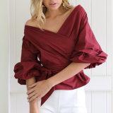 Таким образом женщины Sexy тонкий V-образный вырез горловины отшелушивающей подушечкой втулку порванный жгут одежда блуза