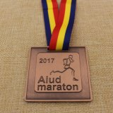 De médaillon personnalisé de marathon de Leicester en métal demi avec la bande faite sur commande