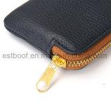 Caixa de telefone de couro superior Zip Carteira Recursos Bolsos interiores