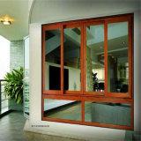 Guichet coulissant en verre de rideau coloré par balcon en aluminium en matériaux avec la moustiquaire d'acier inoxydable