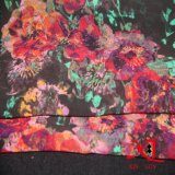 100% de tecido de seda com chiffon acetinado com tingimento
