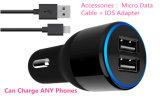 заряжатель автомобиля USB сотового телефона 5V 2.1A 3.4A 4.8A вспомогательный двойной