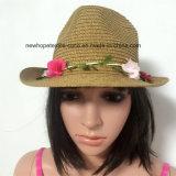 100% соломенной шляпе, стиль моды леди с цветами