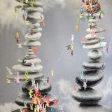 Abstraktes Federelement-springender Kunst-Druck
