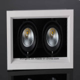 Lâmpada embutida LED COB Grille 2 * 7W Double Head Downlight com 15 graus