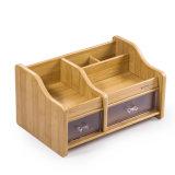 Multi функциональный деревянный устроитель стола с 2 ящиками