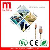 USB a la sinc. micro de los datos del USB que carga el cable tejido del nilón del acoplamiento