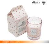 Стеклянный кувшин ароматного высокого качества при свечах с табличкой бумаги для интерьера