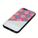 Caja híbrida del teléfono móvil de la goma TPU de la PU de las flores para el iPhone