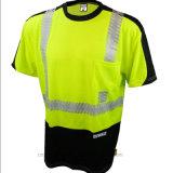Camisas visíveis elevadas da segurança T da luva do Short da garganta de O ou Workwear reflexivo da roupa