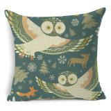 フクロウの動物様式はクッションカバー綿の麻布の枕を印刷した