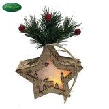 Decorazione d'attaccatura chiara di legno della guarnizione della filiale di albero della renna & della stella di natale del LED