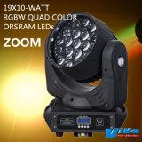 19X10W RGBW Quad LED de couleur de la tête mobile avec zoom motorisé