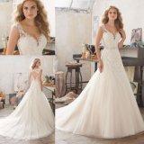 Katywell 물고기 인어 신부 웨딩 드레스 (8117)를 구슬로 장식하는 선 칼집 레이스