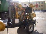 De diesel die Pomp van het Water met Aanhangwagen met 4 wielen wordt geplaatst