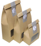 Fábrica de impressão personalizada de alta qualidade Stand up Gift / Shopping / Food Kraft Paper Handle Bag with Window