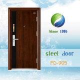 La puerta exterior de China la puerta de entrada Puerta metálica de acero de una sola puerta de seguridad (FD-905)
