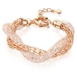Il doppio di lusso di disegno concatena il braccialetto di cristallo di fascino per le signore
