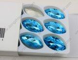 De buitensporige Witte Opalen Gem Navette van het Kristal Foiling van de Steen van het Glas Vlakke Achter