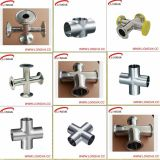 Stainless sanitario Steel Cross con Tri Clamp Estremità