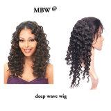 """Волны человеческих волос девственницы парик 100% шнурка индийской глубокой полный 10 """" - 15 """""""