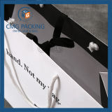 Bolsa de papel de alça de impressão preto altamente brilhante (DM-GPBB-154)