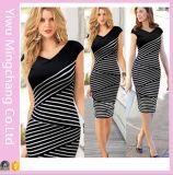 2016 Европы и Америки черным и белым полосатым плюс размер похудение карандаш платья