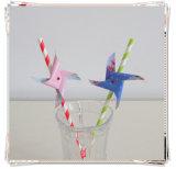 Paja de papel de consumición hermosa con Windwill Tag