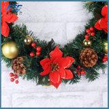 2018 يزهر عيد ميلاد المسيح إكليل مع صنوبر مخروط