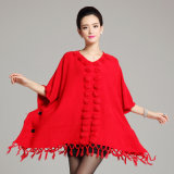 fashion Acrylic Knitted Jacquard 숙녀 프린지 겨울 숄 판초 (YKY4480)
