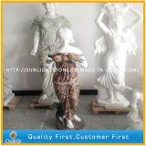 Statue en marbre blanc / beige / or / Sculpture, sculpture sur pierre