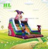 Parc de loisirs heureux caricature de clown gonflable Diapositive sec