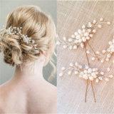 Cabelo de cristal frisado da flor do gancho de cabelo da pérola