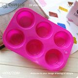 6 moulages de silicones de nourriture de moulage de gâteau rond avec 21.5*14.5*3cm