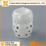 Búho de cerámica blanca cera incienso quemador