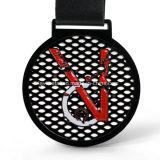 Medalla modificada para requisitos particulares fábrica del metal del deporte con el laminado negro