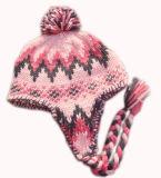 겨울 모자 아크릴 자카드 직물 베레모 모자 주문 니트 모자 POM POM에 의하여 뜨개질을 하는 베레모 모자
