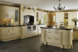 Gabinetes de cozinha europeus brancos da madeira contínua do estilo da mobília Home