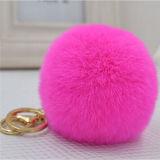 Pompoms pelosi della pelliccia di Keychain 8-10cm della sfera di fascino del sacchetto della sfera della pelliccia del coniglio di modo