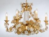 Lampadario a bracci a cristallo di lusso della stagnola dorata superiore di vendita del Medio Oriente per l'hotel